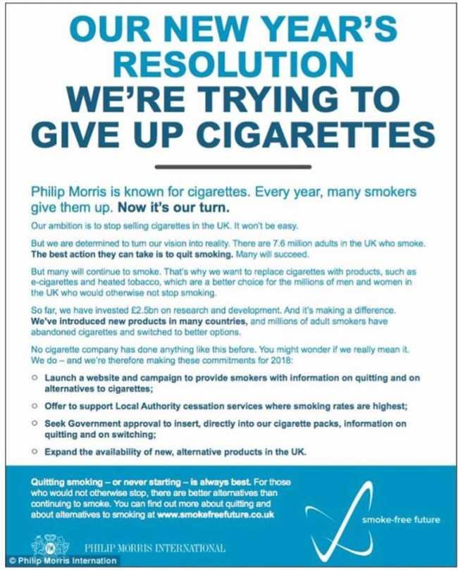 Philip Morris vai largar o cigarro