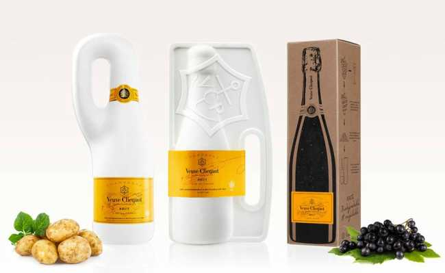 Embalagens biodegradáveis da Veuve Clicquot