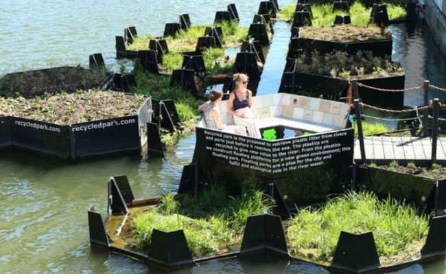 Parque flutuante em Roterdã