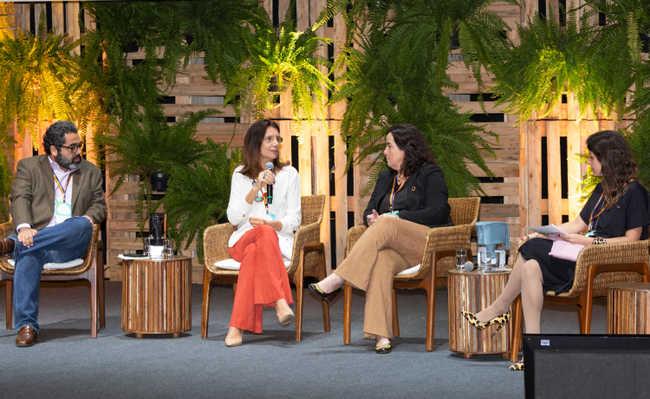 Conselho Empresarial Brasileiro para o Desenvolvimento Sustentável (CEBDS), no Teatro Santander, em São Paulo.