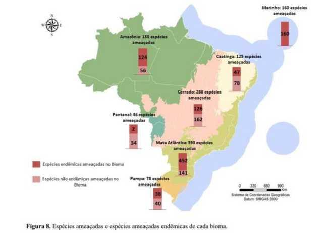Mapa de espécies ameaçadas por bioma