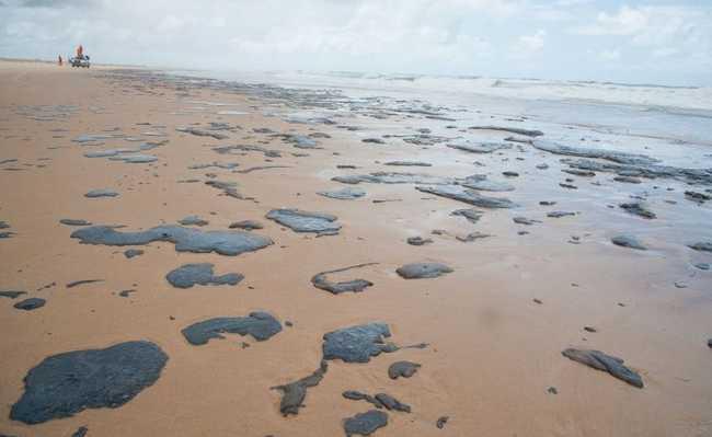 Manchas de petróleo cru em praia do Nordeste