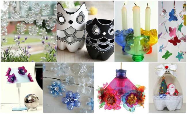 Objetos de decoração feitos com garrafa PET
