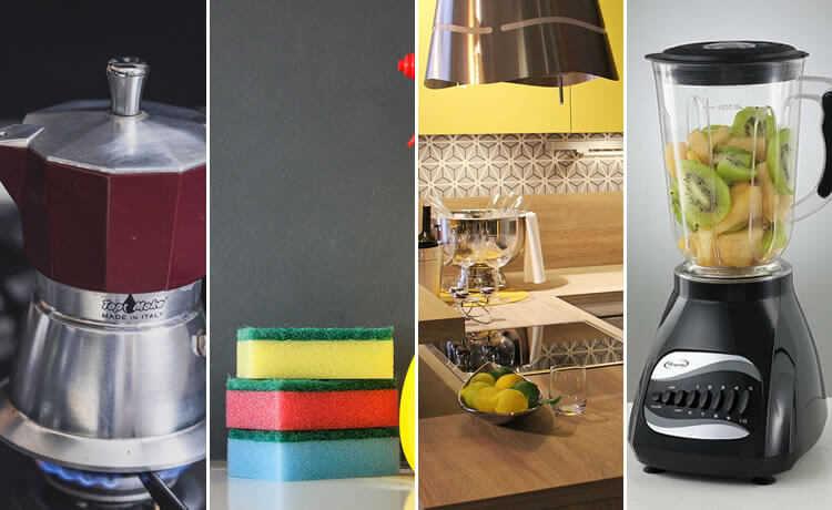 Máquina de café Italiana, esponja, cozinha e liquidificador