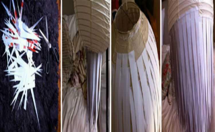 Papéis cortados formam um lindo lustre