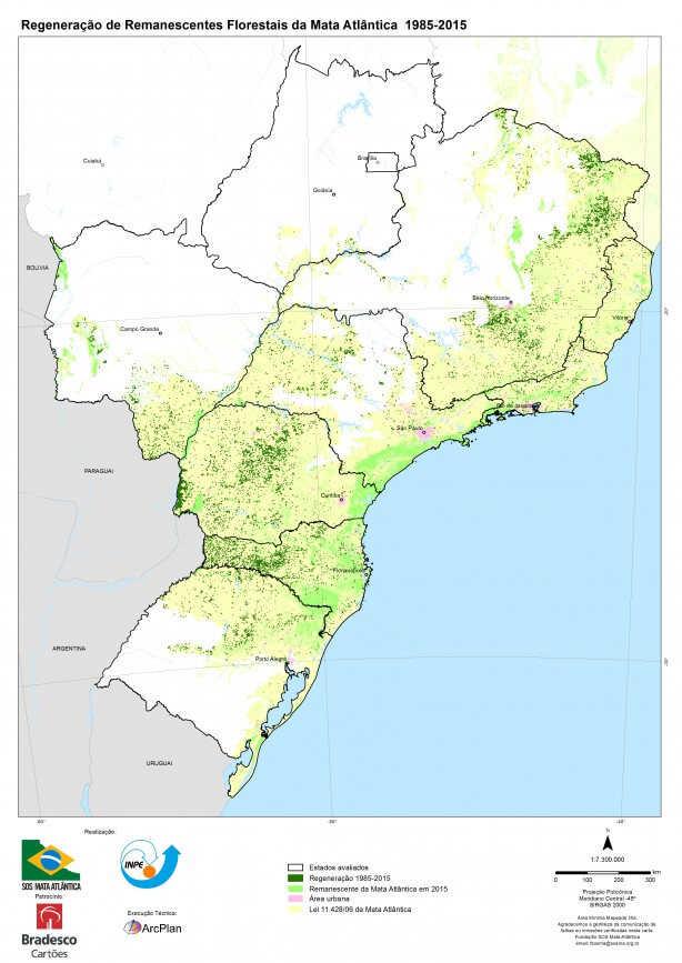 Mapas das áreas regeneradas