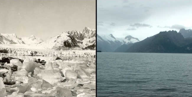 À esquerda, 1940. À direita, 4 de agosto de 2005