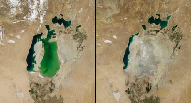 À esquerda, 25 de agosto de 2000. À direita, 19 de agosto de 2014