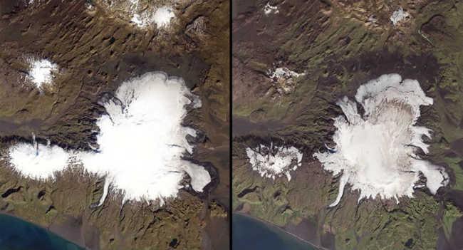 À esquerda, 16 de setembro de 1986. À direita, 20 de setembro de 2014