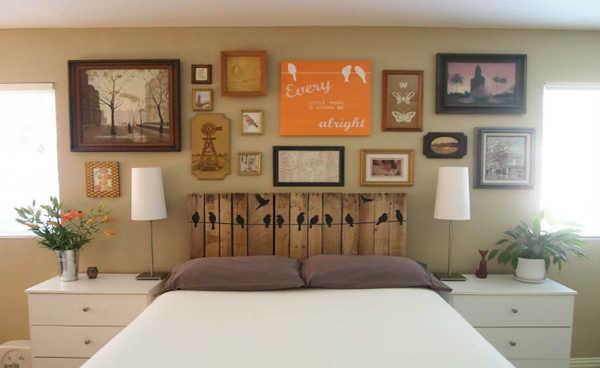 Cabeceira de cama com paletes