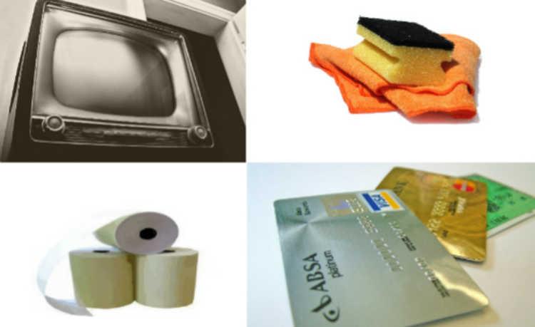 TV, bucha, papel e cartão de crédito
