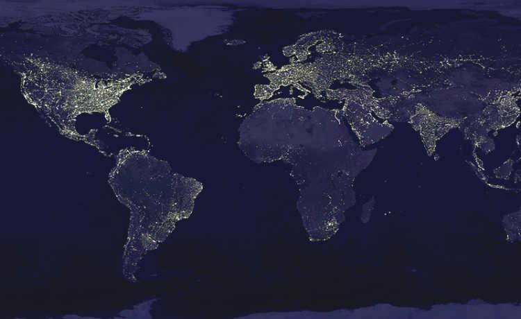 Poluição luminosa no mundo
