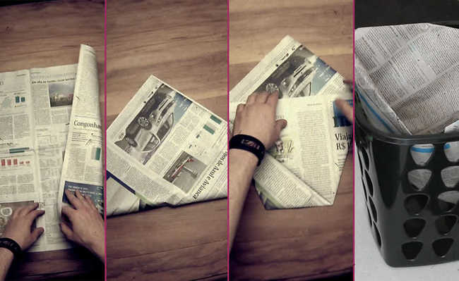 Saquinho de jornal no lugar das sacolas plásticas