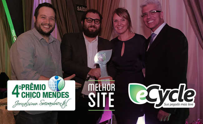 Pelo segundo ano seguido, O Portal eCycle  venceu a Prêmio Chico Mendes de Jornalismo Socioambiental