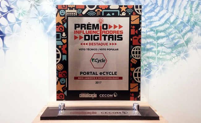 """Portal eCycle é destaque na categoria """"Meio Ambiente e Sustentabilidade"""" do Prêmio Influenciadores Digitais 2017"""