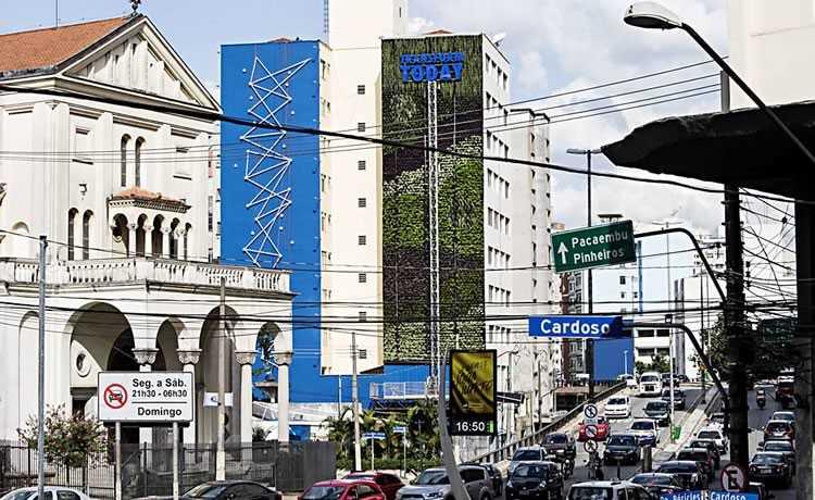 Jardim vertical na cidade de São Paulo