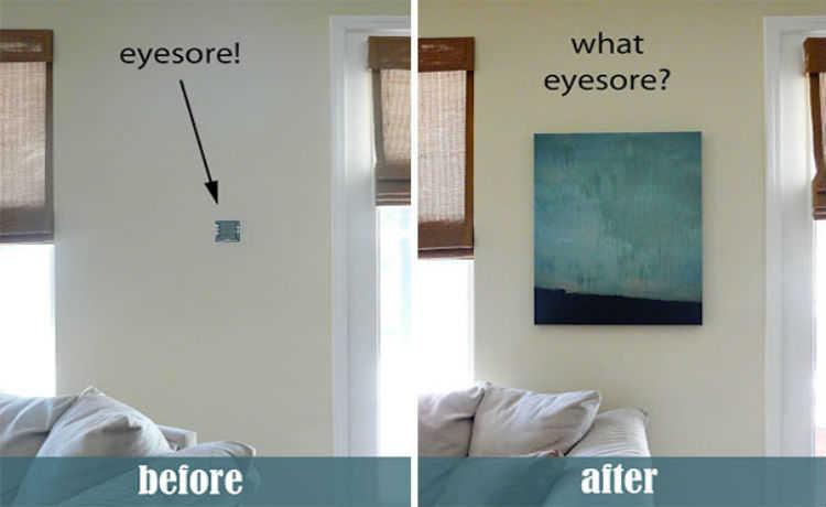 Esconda o alarme, termostato ou controle da piscina com uma pintura