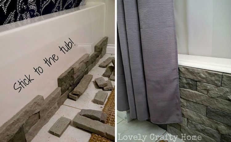 Esconda a lateral da banheira com essa decoração de pedras