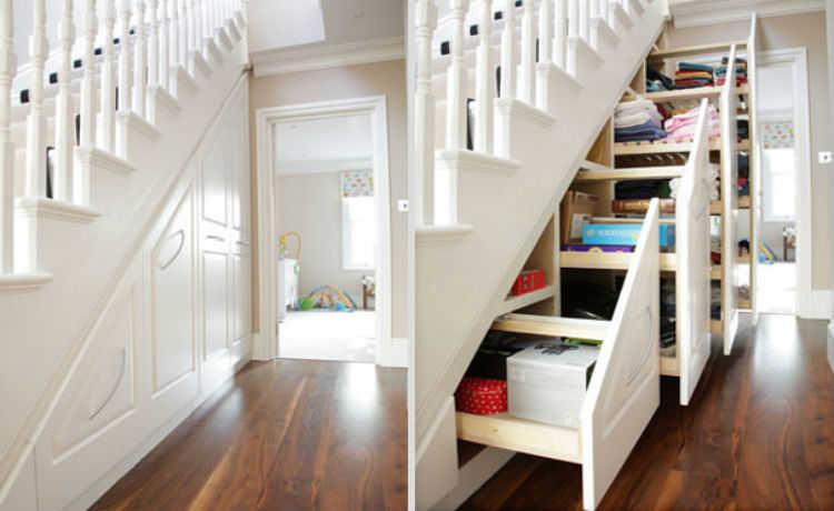 Coloque gavetas embaixo da escada e tenha um espaço a mais