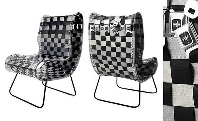 Cadeira é feita com reaproveitamento de 53 cintos de segurança