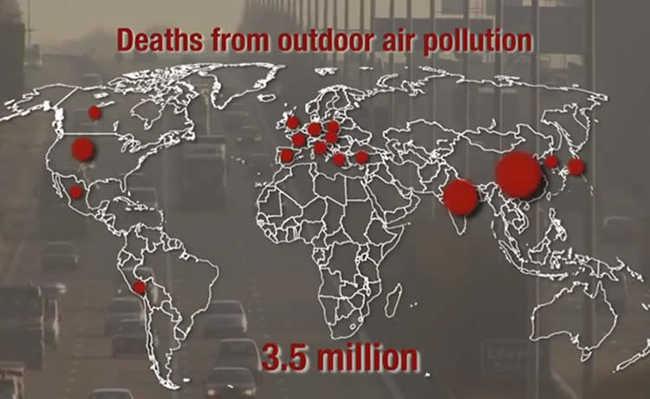 As mortes por poluição do ar