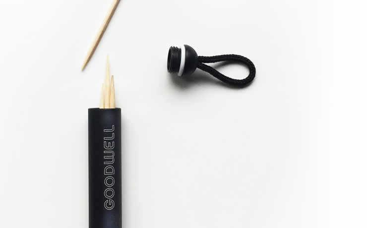 Goodwell: tubo metálico pode armazenar diferentes objetos, como palitos