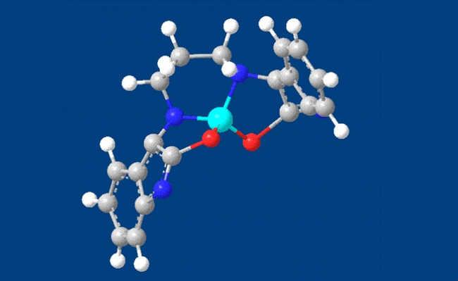 Representação de composto orgânico metalizado com cobre/imagem do acervo da pesquisadora