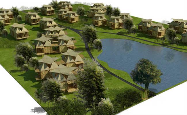Casas de bambu da Indonésia